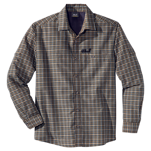 JACK WOLFSKIN MEN MOUNT KENYA LONGSLEEVE BROWN CHECKS