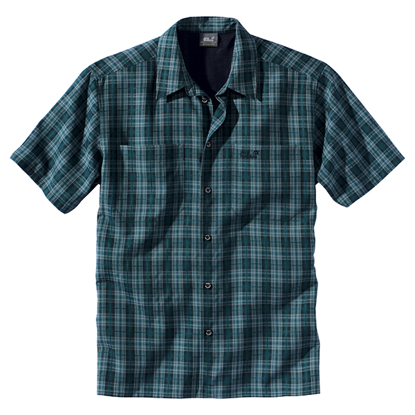 JACK WOLFSKIN MEN DIAMOND BAY MOSQUITO SHIRT COBALT TITANIUM CHECKS