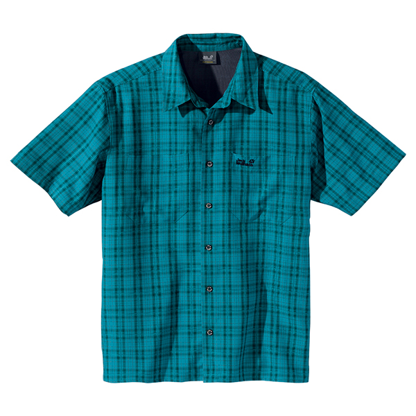 JACK WOLFSKIN MEN DIAMOND BAY MOSQUITO SHIRT BALTIC SHADOW CHECKS