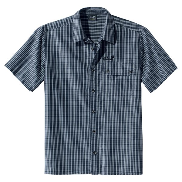JACK WOLFSKIN MEN MOUNT KENYA SHIRT DARK BLUE CHECKS