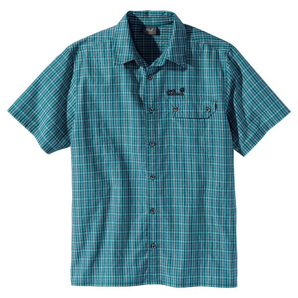 JACK WOLFSKIN MEN MOUNT KENYA SHIRT BALTIC BLUE CHECKS