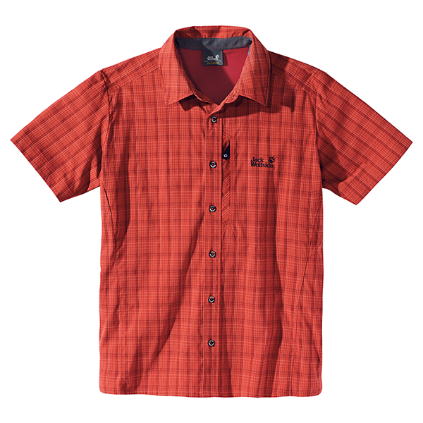 JACK WOLFSKIN MEN MOUNTAIN STRETCH SHIRT SPICY MEXICAN CHECKS
