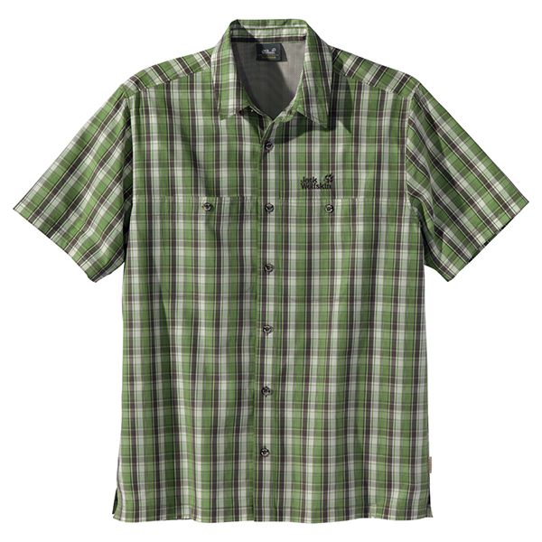 JACK WOLFSKIN MEN RIO BRAVO SHIRT LEAF GREEN CHECKS