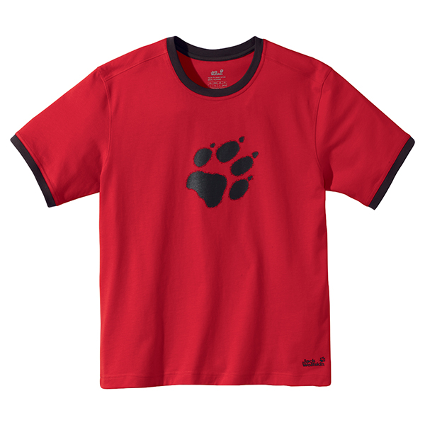 JACK WOLFSKIN MEN BLURRY PAW T PEAK RED