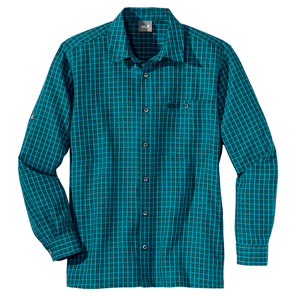 JACK WOLFSKIN MEN EL DORADO LONGSLEEVE BALTIC BLUE CHECKS