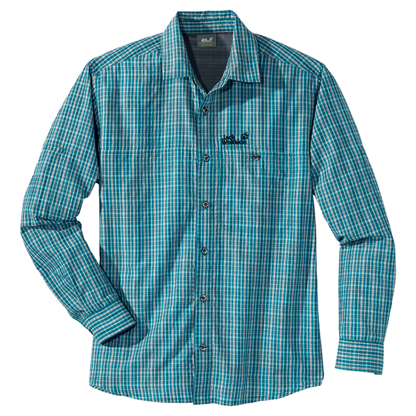 JACK WOLFSKIN MEN MOUNT KENYA LONGSLEEVE BALTIC BLUE CHECKS