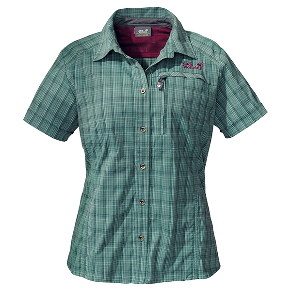 JACK WOLFSKIN WOMEN MOUNTAIN STRETCH SHIRT EUCALYPTUS CHECKS