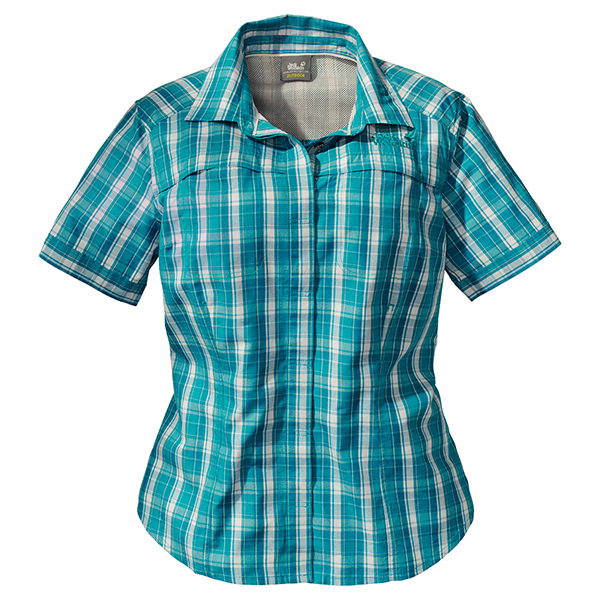 JACK WOLFSKIN WOMEN RIO BRAVO SHIRT BALTIC BLUE CHECKS