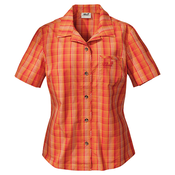 JACK WOLFSKIN WOMEN HOT CHILI SPICY ORANGE CHECKS