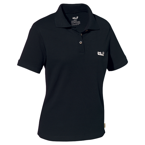 JACK WOLFSKIN WOMEN POLO SHIRT BLACK