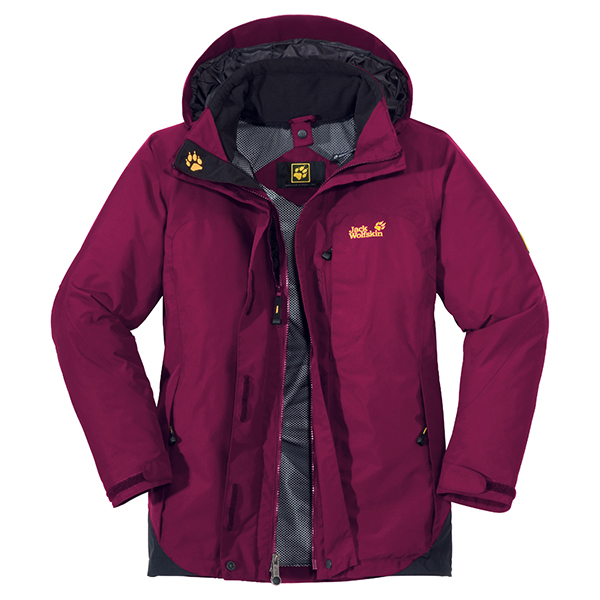 JACK WOLFSKIN WOMEN ELEMENTS XT JACKET GRAPE RED